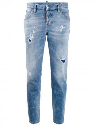 Зауженные джинсы с эффектом потертости Dsquared2. Цвет: синий
