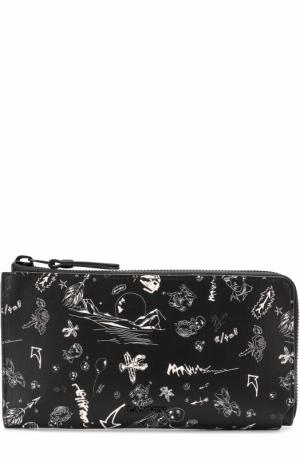 Кожаный футляр для документов на молнии с отделениями кредитных карт Lanvin. Цвет: черно-белый
