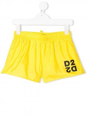Плавки-шорты с логотипом D2 Dsquared2 Kids. Цвет: желтый