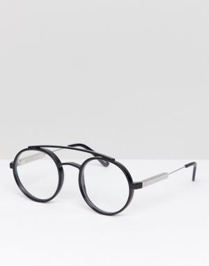 Круглые очки с прозрачными стеклами в черной оправе Spitfire. Цвет: черный