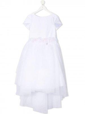 Платье с тюлем Miss Blumarine. Цвет: белый