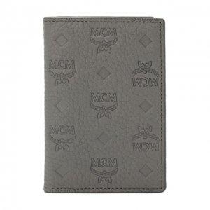 Кожаный футляр для кредитных карт MCM. Цвет: серый