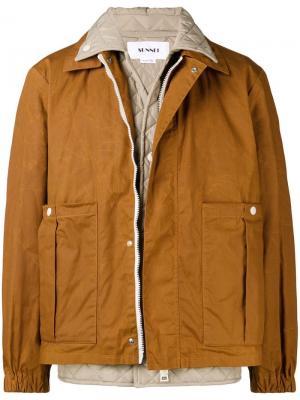 Многослойная куртка с жилетом Sunnei. Цвет: коричневый