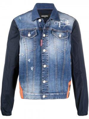 Джинсовая куртка с контрастными рукавами Dsquared2. Цвет: синий