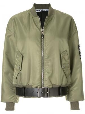 Куртка-бомбер с поясом Alexander Wang. Цвет: зеленый