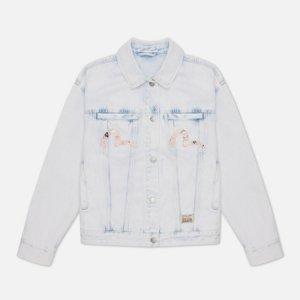 Женская джинсовая куртка Godhead x Bonsai Foil Embroidered Acid Washed Evisu. Цвет: голубой