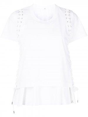 Многослойная футболка со шнуровкой Comme Des Garçons Noir Kei Ninomiya. Цвет: белый