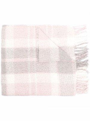 Bouclé tartan knitted scarf Barbour. Цвет: серый