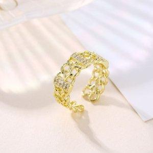 Открытое кольцо 18K Позолоченный в форме цепочки SHEIN. Цвет: золотистый