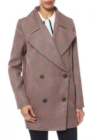 Пальто Анора. Цвет: серый, оранжевый