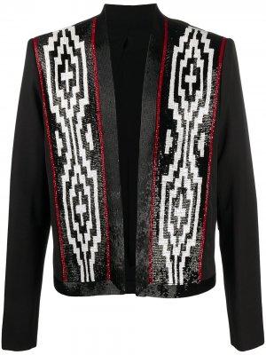 Пиджак с вышивкой бисером Balmain. Цвет: черный