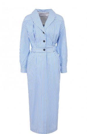 Приталенное платье-миди в полоску Walk of Shame. Цвет: синий