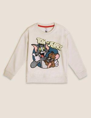 Свитшот с принтом Tom & Jerry™ свободного кроя Marks Spencer. Цвет: мастика