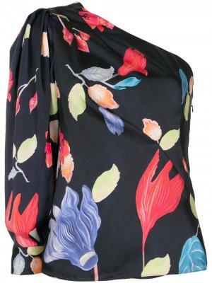 Топ на одно плечо с цветочным принтом Peter Pilotto. Цвет: синий