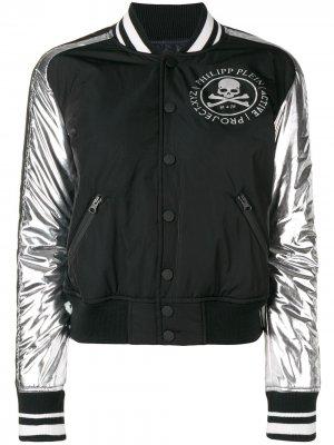 Куртка-бомбер с логотипом Philipp Plein. Цвет: черный
