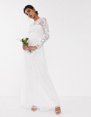 Свадебное сетчатое платье с цветочной вышивкой -Белый ASOS EDITION