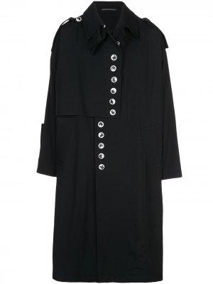 Дождевик на пуговицах Yohji Yamamoto. Цвет: черный