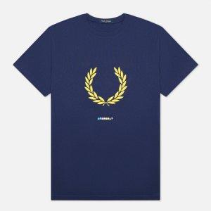 Мужская футболка Print Registration Fred Perry. Цвет: синий