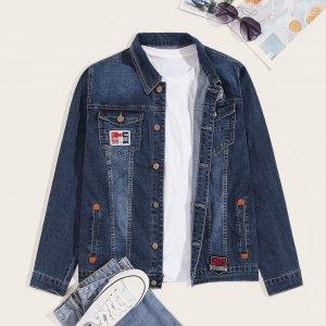 Мужская джинсовая куртка с текстовой заплатой SHEIN. Цвет: тёмно-синие
