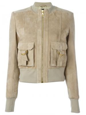 Кожаная куртка на молнии Balmain. Цвет: телесный