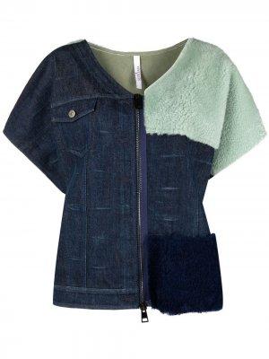 Джинсовая куртка с меховой вставкой Suprema. Цвет: синий