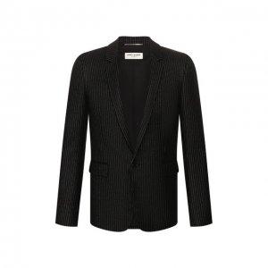 Шерстяной пиджак Saint Laurent. Цвет: чёрный