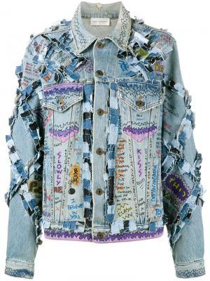 Джинсовая куртка с принтом граффити Faith Connexion. Цвет: синий