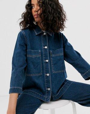 Комбинируемая синяя джинсовая куртка -Синий Weekday