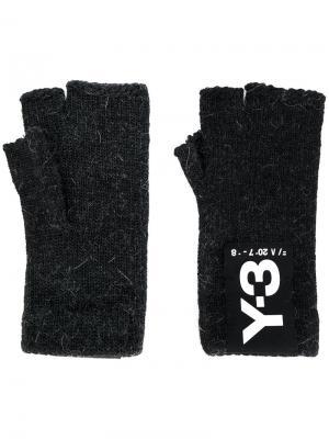 Перчатки-митенки Y-3. Цвет: черный