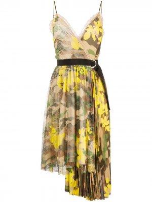 Платье асимметричного кроя с камуфляжным принтом Ermanno. Цвет: нейтральные цвета