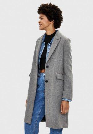 Пальто Bershka. Цвет: серый