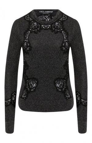 Пуловер из смеси вискозы и хлопка Dolce & Gabbana. Цвет: серебряный