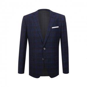 Шерстяной пиджак BOSS. Цвет: синий