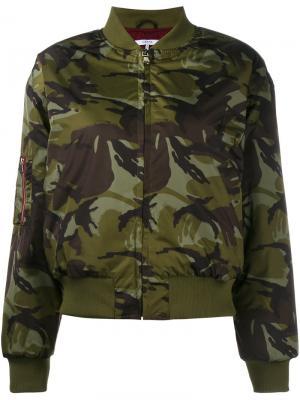 Куртка-бомбер Greenwood с камуфляжным рисунком Ganni. Цвет: зелёный