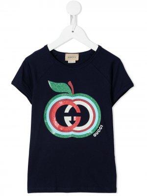 Футболка с логотипом Gucci Kids. Цвет: синий