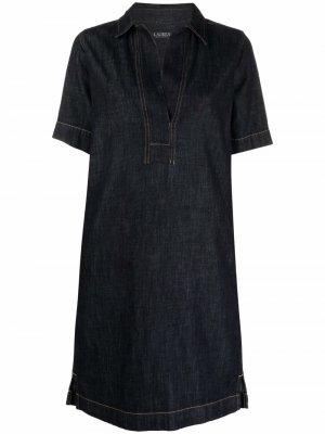 Джинсовое платье-рубашка Lauren Ralph. Цвет: синий