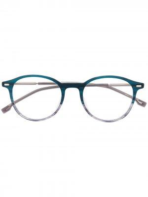 Двухцветные солнцезащитные очки в круглой оправе Boss Hugo. Цвет: синий