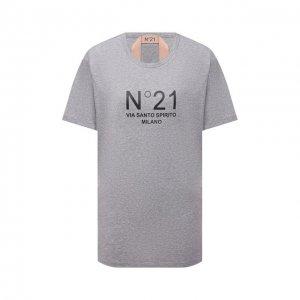 Хлопковая футболка N21. Цвет: серый