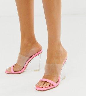 Эксклюзивные ярко-розовые сандалии на танкетке Public Desire. Цвет: розовый