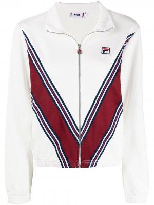 Спортивная куртка с узором шеврон Fila. Цвет: белый