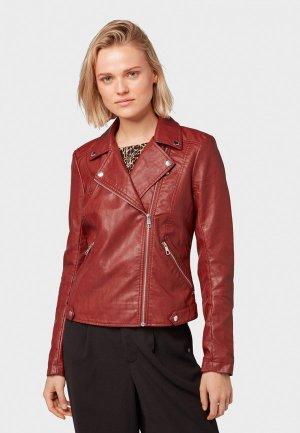 Куртка кожаная Tom Tailor Denim. Цвет: красный