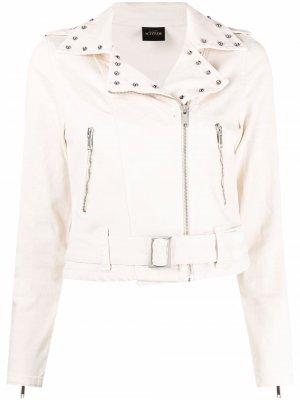 Байкерская куртка на молнии с заклепками TWINSET. Цвет: нейтральные цвета