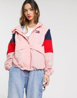 Ветровка в стиле колор блок -Розовый Tommy Jeans