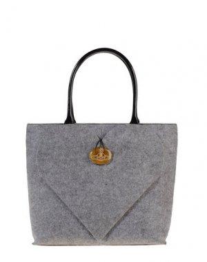 Большая сумка из текстиля VIVIENNE WESTWOOD. Цвет: светло-серый