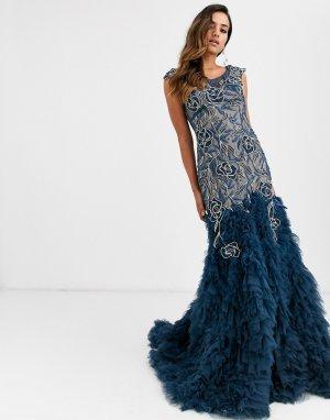 Платье с цветочной отделкой и годе -Темно-синий Jovani