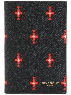 Визитница с принтом крестов Givenchy. Цвет: чёрный