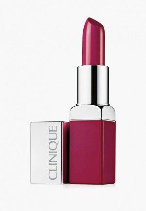 Помада Clinique интенсивный цвет и уход Рop lip colour + primer, Raspberry, 3.9 г. Цвет: фиолетовый