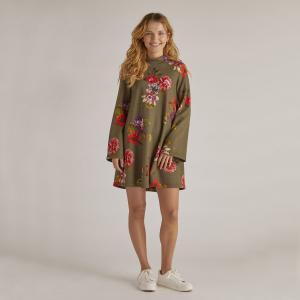 Платье-пуловер с цветочным рисунком укороченное длинными рукавами RENE DERHY. Цвет: цветочный рисунок/фон хаки