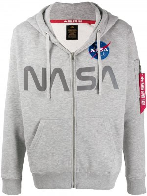 Худи с принтом NASA Alpha Industries. Цвет: серый