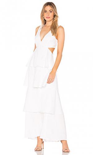 Платье с вырезами Bardot. Цвет: белый
